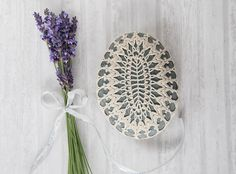 Crochet covered rock lace stone beach wedding by TableTopJewels, $50.00