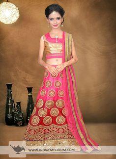 Appealing Pink & Maroon Net #Mirror Work #Kids #Lehenga #Choli