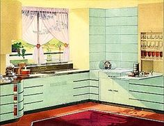 Could we use clean lines to suggest deco without the palette? Art Deco Streamline Moderne kitchen painted green