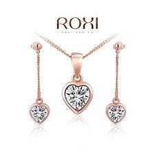 Unique Jewelry - 18k Rose Gold Diamond Love Heart Necklace Tassel Earrings Fine Jewelry SET Women