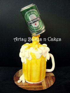 Heineken Beer Mug Cake - by ArtsyBakesnCakes @ CakesDecor.com - cake decorating website
