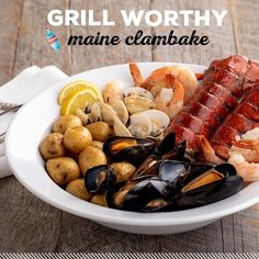 Our Maine Clambake is the perfect summer date night dinner! Simply heat, eat, and enjoy. No mess, just an exquisite Maine experience.  What you get: - 2 Maine Lobster Tails (5-6 Oz each) - 12 Mussels - 12 Clams - 8 Shrimp - 12 Baby Potatoes  Everything comes in a foil bag, ready to throw into the oven or on the grill. We added Alder Chips to the bottom of the bag to give this meal an authentic cooked on a Maine shore taste. Best Lobster Tail Recipe, Lobster Recipes, Seafood Recipes, Shrimp And Lobster, Lobster Tails, Easy Dinners For Two, Easy Dinner Recipes, Herb Butter, Lemon Butter