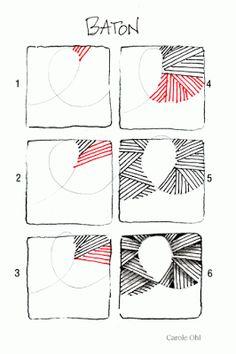 Open Seed Arts: Baton Steps Zentangle Zentangle doodles how to Tangle: Pattern Tutorial Zentangle Steps Zentangle Drawings, Doodles Zentangles, Doodle Drawings, Doodle Designs, Doodle Patterns, Zentangle Patterns, Tangle Doodle, Zen Doodle, Doodle Art