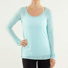 Lululemon Presence of Mind LS Pretty chevron aqua color top and buttery soft. Not sure of size. Fits like a medium/large. Check your measurements to be sure of fit. Sleeves 28 inches, length 25.5 inches, and across armpit to armpit measures 21 inches. lululemon athletica Tops Tees - Long Sleeve
