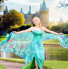 J929 spring FROZEN FEVER ELSA green dress whole set 2.6 meter cape adult women #NA #BallGown #Formal