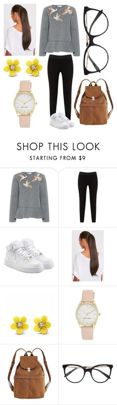 """SZ ~ PD"" by thirtysecondsatthepityparty ❤ liked on Polyvore featuring RED Valentino, JunaRose, NIKE, WithChic, Nine West, BAGGU and Victoria Beckham"