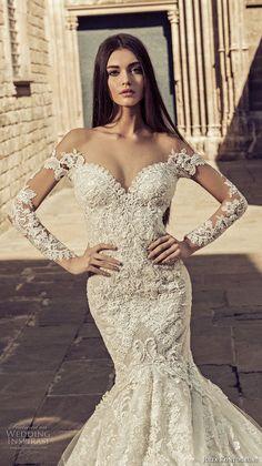 julia kontogruni 2018 bridal long sleeves sweetheart neckline full embellishment elegant mermaid wedding dress sheer button back royal train (6) zv -- Julia Kontogruni 2018 Wedding Dresses