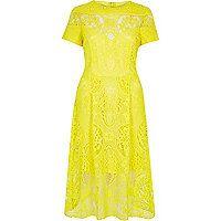Yellow lace midi dress - midi dresses - dresses - women