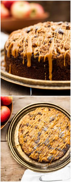 Apple Spice Streusel Cake with Salted Caramel Drizzle. This incredibly moist cake is full of shredded apples, complete with crunchy streusel top and salted caramel.