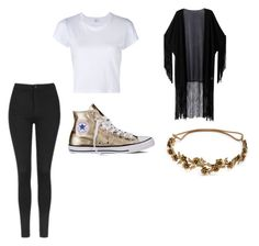 """black and white"" by laynnamcknight on Polyvore featuring Topshop, RE/DONE, WithChic, Converse and Jennifer Behr"