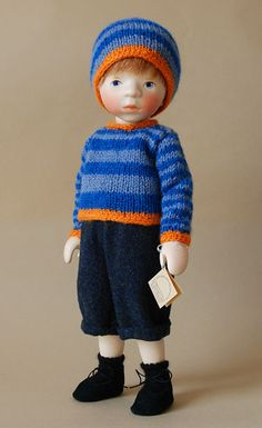 Boy In Striped Sweater H336 by Elisabeth Pongratz at The Toy Shoppe