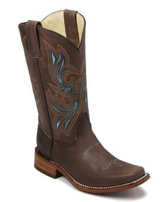 Look at this Bonanza Boots Brown & Turquoise Embroidered Leather Cowboy Boot on #zulily today!