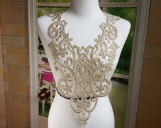 Big Lace Applique - Gold Venise Lace for Jewelry, Altered Clothing, Sewing, Costume