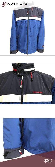 "Tommy Hilfiger Men's Jacket 2XL • Item: Tommy Hilfiger heavy jacket ""Cold Stop""  • Size: men's XXL, 2XL; see diagram in photos for detailed measurements  • Color: blue, navy blue exterior, red fleece interior  • Material: nylon shell, fleece lining Tommy Hilfiger Jackets & Coats Raincoats"
