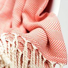 Herringbone Cotton Throw - Peach – Barn & Willow