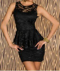 Sexy Round Neck Sleeveless Flounced Bodycon Women s Lace Dress Black Laces cf851a754e1c