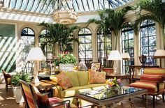 British Colonial-Tropical Decor for Afternoon Tea in the Solarium at Sea Island