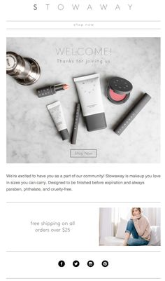 Stowaway Makeup Welcome email. Subject line: Welcome to Stowaway