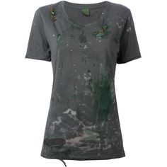 Mr & Mrs Italy distressed embellished T-shirt ($320) ❤ liked on Polyvore featuring tops, t-shirts, green, torn t shirt, embellished t shirts, ripped t shirt, distressed tee and embellished tops