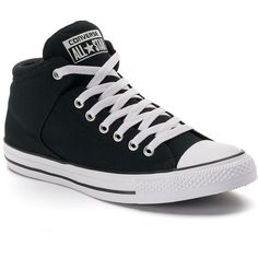 Men's Converse Chuck Taylor All Star High Street Sneakers ($55) ❤ liked on Polyvore featuring men's fashion, men's shoes, men's sneakers, shoes, sneakers, converse, black, mens hi tops, mens leopard print shoes and mens black sneakers