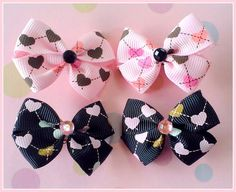 Grid Hearts Bitsy Bows 2 pairs by Flowers4Emily on Etsy