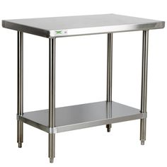 "Regency 16 Gauge All Stainless Steel Commercial Work Table - 30"" x 36"" with Undershelf (in kitchen, at far end by door)"
