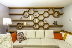 Astounding 15 Attractive Hexagon Shelves For Living Room Decoration Ideas The appearance of the wall is important in decorating the room. A good wall display certainly makes the room decor more attractive. Getting bored with. Home Decor Furniture, Home Decor Bedroom, Living Room Decor, Diy Home Decor, Furniture Design, Kitchen Wall Shelves, Wall Shelving, Room Interior, Interior Design