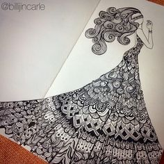 Billijin Carle on Talenthouse Dress Design Drawing, Girl Drawing Sketches, Doodle Art Drawing, Zentangle Drawings, Cool Art Drawings, Mandala Drawing, Pencil Art Drawings, Zentangle Patterns, Mandala Doodle