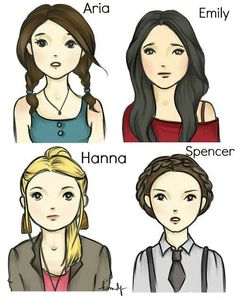 Pretty Little Liars (PLL) Aria, Emily, Hanna, and Spencer in drawing form