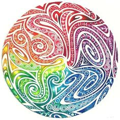 Maori spirals I was looking for something else on the Internet when I happened across Maori spiral facial tattoos. Wow! I printed a design that was circular. To use it as a 'string' I had to combine some sections, otherwise they were just too thin. Even so, there wasn't a lot of room for tangles, but I managed to squeeze a few in there.