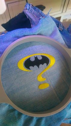 Batman question mark embroidery design