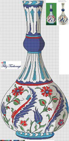 Bir tane daha sunuyorum...Fondaki renkler size fikir olsun diye...İster işleyin, isterseniz benim yaptığım gibi kesip çıkarın, fon boyayın, korkmayın :) İznik çinileri bizim kültürümüzde olan muhteşem bir sanattır :))) Blackwork Patterns, Embroidery Patterns, Crochet Patterns, Free Cross Stitch Charts, Cross Stitch Pillow, Cross Stitch Designs, Cross Stitch Patterns, Cross Stitching, Cross Stitch Embroidery