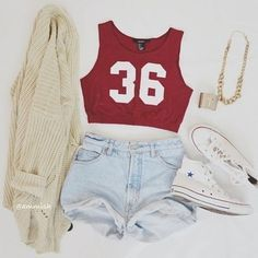 red crop top, light wash high-waisted shorts, cream cardigan white converse