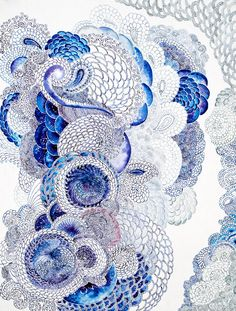 Amazing blue Zentangle.