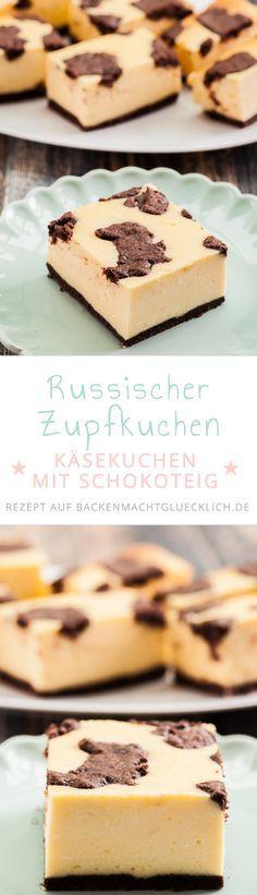 """Russischer Zupfkuchen ist eine köstliche Kombination aus Schokoladen- und Käsekuchen, die mit dem """"Kuhflecken-Muster"""" auch noch toll aussieht. Der russische Zupfkuchen ist der perfekte Blechkuchen für Kindergeburtstage, Partys und Co"""