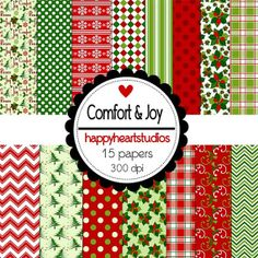 Digital Scrapbook Comfort&Joy by azredhead on Etsy, $1.50