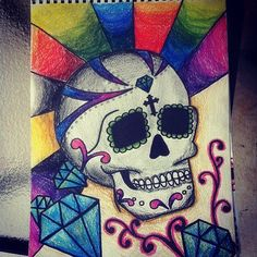 Skull drawing I had fun with all the colors