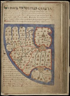 'Liber Floridus' (Book of Flowers), The 'Liber Floridus' is essentially a compilation of extracts from nearly two hundred late Classical and early Medieval works. Map of Europe, 1120 A.D.