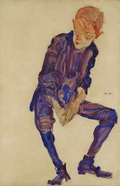 Egon Schiele, Sitting Boy in Lilac Clothing.