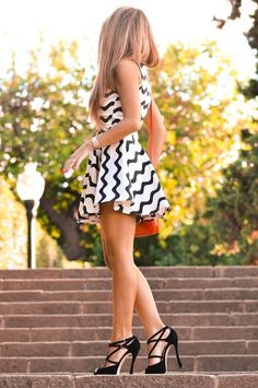 zigzag black and white skater dress with hot black heels