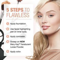 Brush on flawless in five easy steps with the new Mary Kay® Translucent Loose Powder! http://www.marykay.com/tuesdayrosales/en-US/Makeup/Face/Mary-Kay-Translucent-Loose-Powder/111250.partId?eCatId=10005