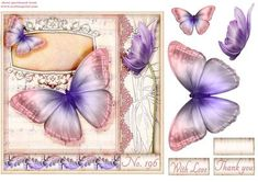 Vintage music butterfly topper on Craftsuprint designed by Andrea Hippenstiel - 7 x 7 inch beautiful soft music butterfly - Now available for download!