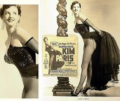 """Kurvacious.. Kim Paris   aka. """"The IF Girl""""..    Promo photo with newspaper ad for an appearance at Rose La Rose's 'TOWN HALL Burlesque' theatre; in Toledo, Ohio"""