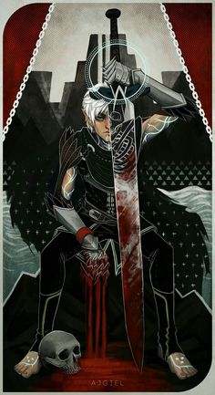 ajgiel: Fenris tarot card because why not. Inspired by death tarot card and… Solas Dragon Age, Dragon Age 2, Dragon Age Origins, Dragon Age Inquisition, Character Concept, Character Art, Character Design, Dragon Age Characters, Fantasy Characters