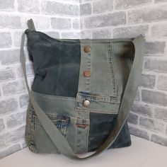 Hobo denim bag with recycled jeans and leather Casual jean tote bag. Bag of distressed jeans. Women\'s bag of jeans and Denim Bag, Market Bag, Casual Bags, Denim Fashion, Purses And Bags, Jean Purses, Messenger Bag, Crossbody Bag, Shoulder Bag