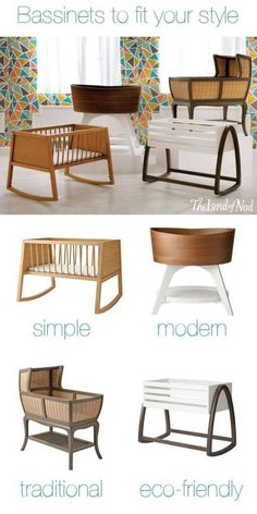 How about a bassinet that actually adds style to your home? These bassinets look as good in your living room as they do in your master bedroom. Find a bassinet to fit your style. Next baby, I want a rocking bassinet like this. Baby Bassinet, Baby Cribs, Wood Bassinet, Bassinet Ideas, Bedside Bassinet, Baby Bedding, Baby Needs, Baby Love, Everything Baby