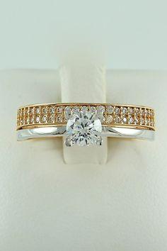 Δίχρωμο μονόπετρο δαχτυλίδι, λευκόχρυσο & ροζ χρυσό, 14 καράτια, Κωδικός WGD011