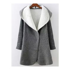 SheIn(sheinside) Grey Hooded Long Sleeve Pockets Sweater Coat (210 HRK) ❤ liked on Polyvore featuring grey