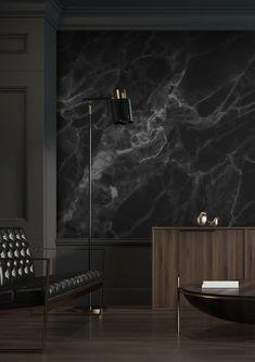 Black Bedroom Design, Black Interior Design, Interior Design Living Room, Black Bedroom Walls, Black Bedroom Decor, Modern Bedroom, Feature Wall Living Room, Dark Living Rooms, Dream Home Design