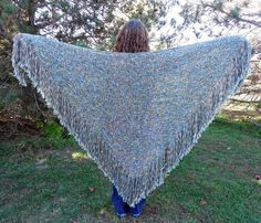 Handwoven Shawl Large Woven Triangle Shawl Wrap Multicolor Ocean Earth Tones Blue Green Brown by SticksNStonesGifts